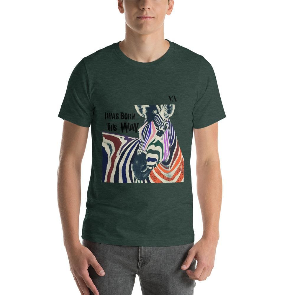 I Was Born This Way Short-Sleeve Unisex Tshirt - Heather Forest / S - Tshirt