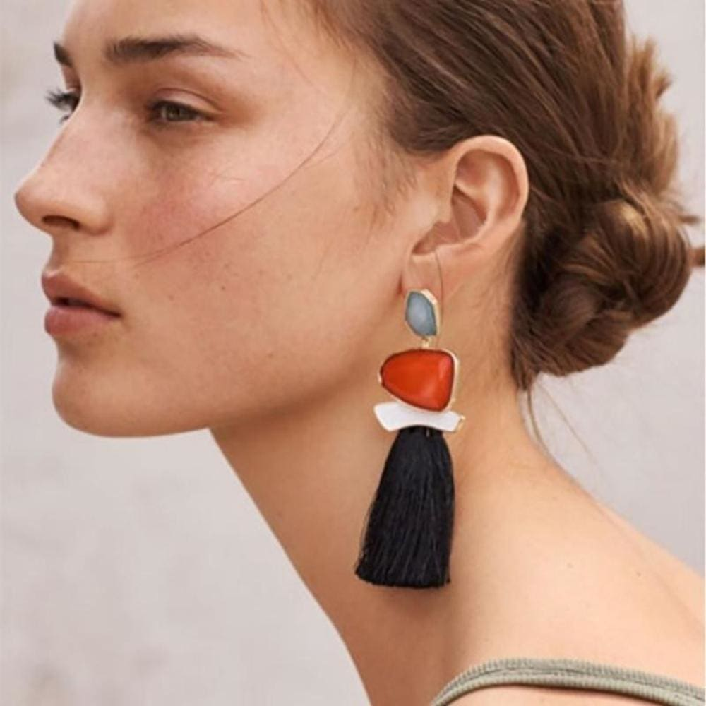 Jules Nordic Tassel Fringe Drop Earrings With Crystal Stone - Earrings