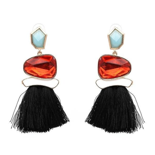 Jules Nordic Tassel Fringe Drop Earrings With Crystal Stone - Black - Earrings