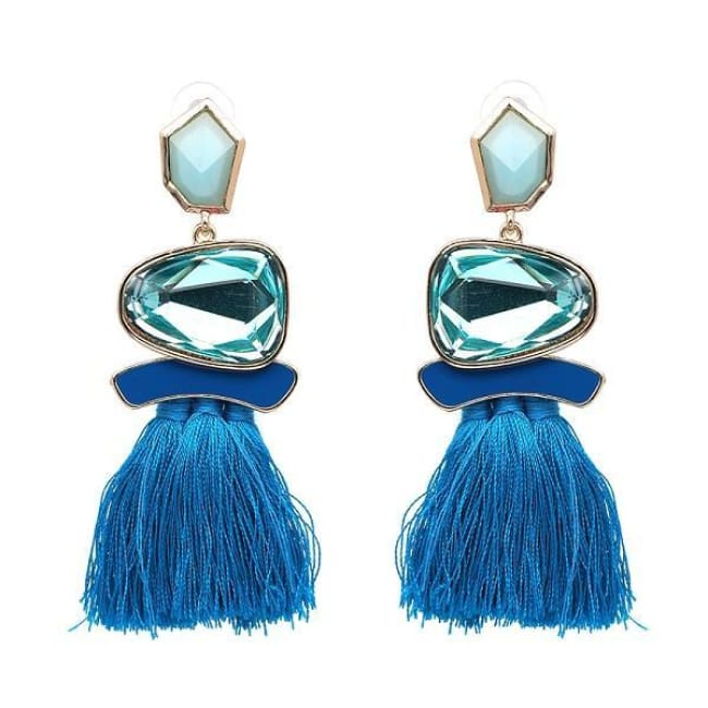 Jules Nordic Tassel Fringe Drop Earrings With Crystal Stone - Blue - Earrings