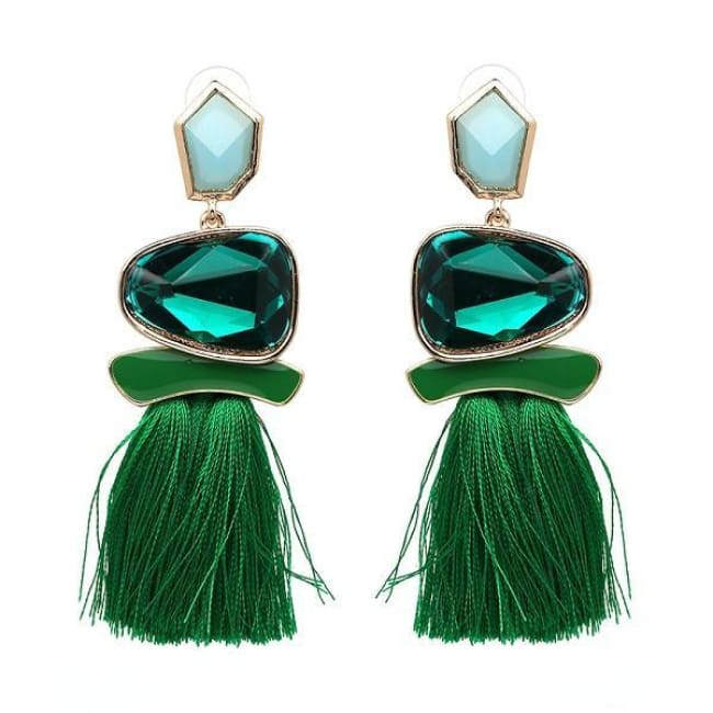 Jules Nordic Tassel Fringe Drop Earrings With Crystal Stone - Green - Earrings