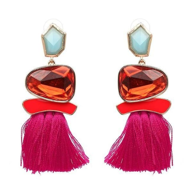 Jules Nordic Tassel Fringe Drop Earrings With Crystal Stone - Hot Pink - Earrings