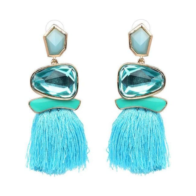 Jules Nordic Tassel Fringe Drop Earrings With Crystal Stone - Light Blue - Earrings