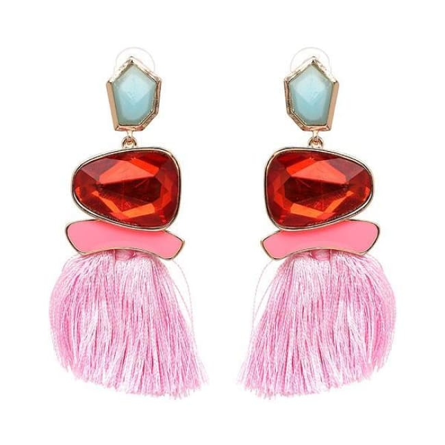 Jules Nordic Tassel Fringe Drop Earrings With Crystal Stone - Pink - Earrings