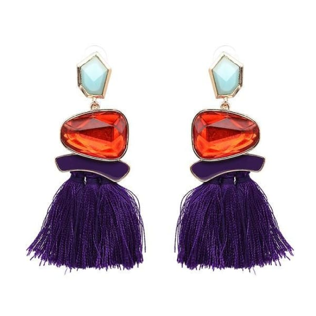 Jules Nordic Tassel Fringe Drop Earrings With Crystal Stone - Purple - Earrings