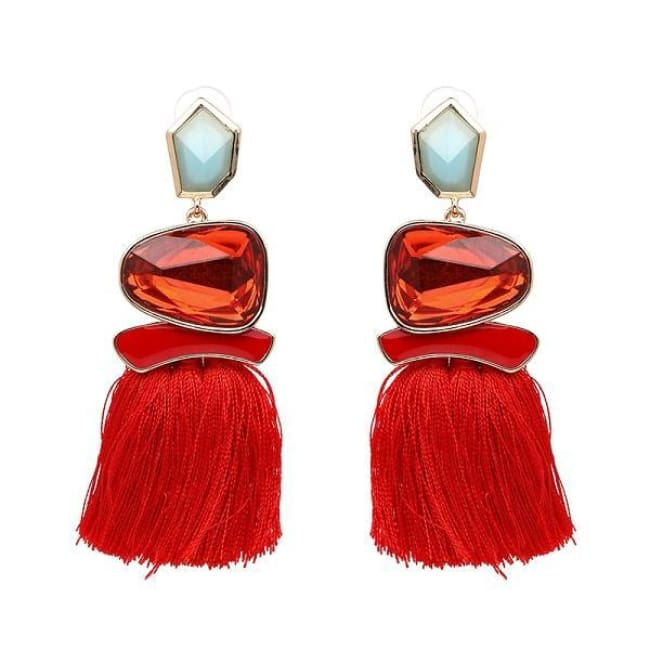 Jules Nordic Tassel Fringe Drop Earrings With Crystal Stone - Red - Earrings