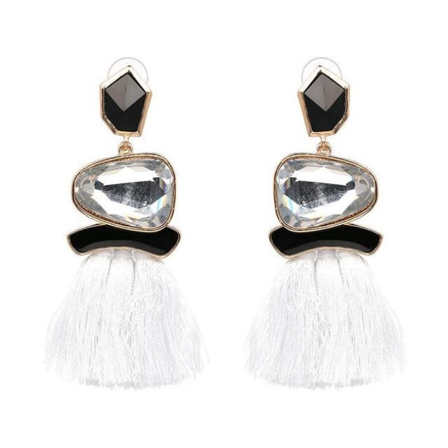 Jules Nordic Tassel Fringe Drop Earrings With Crystal Stone - White - Earrings