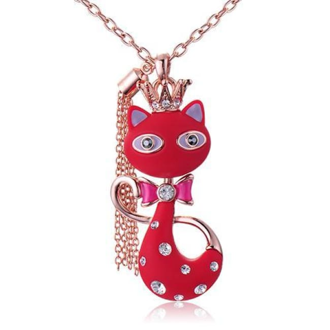 Katyas White/red Resin Crowned Cat Pendant Necklace - Red - Necklace