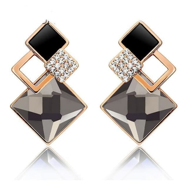 Kims Hot Fashion Vintage Long Square Shaped Crystal Earrings Geometric Style - E012 G Black - Earrings