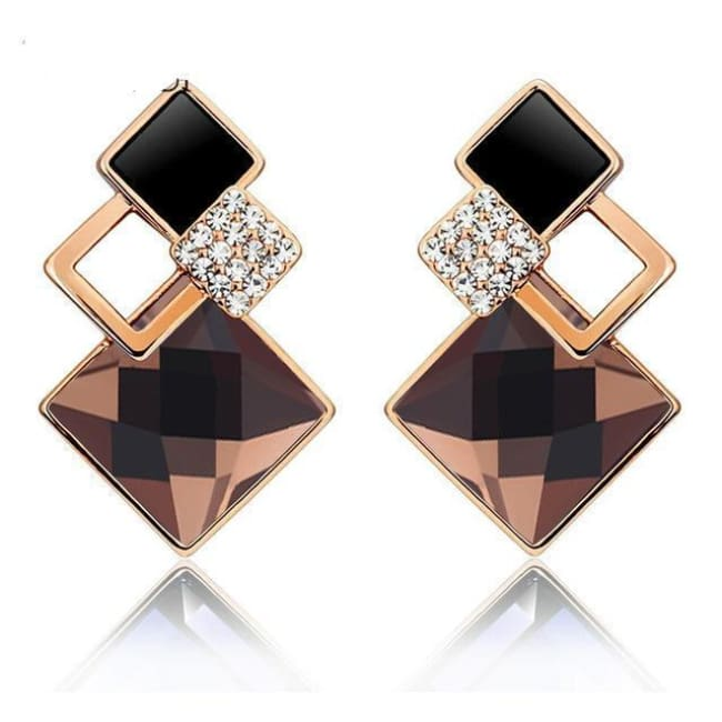 Kims Hot Fashion Vintage Long Square Shaped Crystal Earrings Geometric Style - E012 G Champagne - Earrings