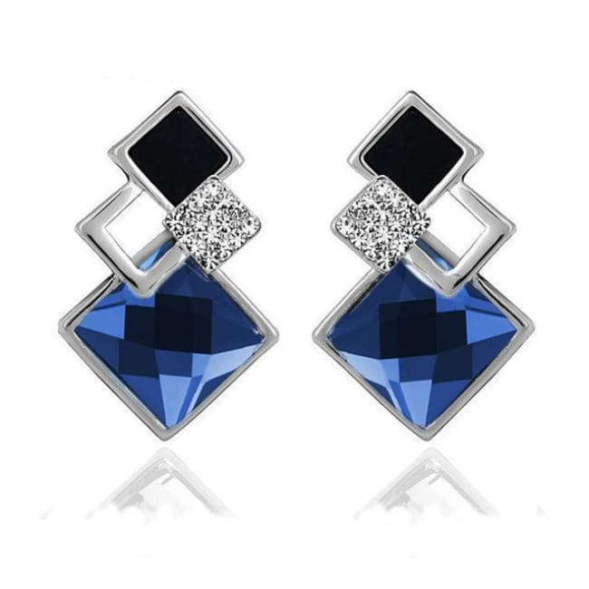 Kims Hot Fashion Vintage Long Square Shaped Crystal Earrings Geometric Style - E012 S Blue - Earrings