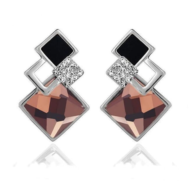 Kims Hot Fashion Vintage Long Square Shaped Crystal Earrings Geometric Style - E012 S Champagne - Earrings