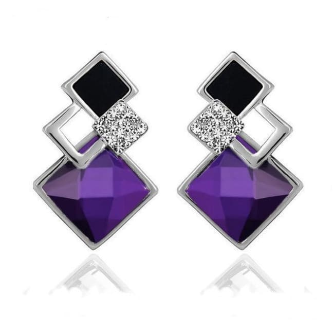 Kims Hot Fashion Vintage Long Square Shaped Crystal Earrings Geometric Style - E012 S Purple - Earrings