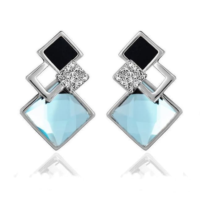 Kims Hot Fashion Vintage Long Square Shaped Crystal Earrings Geometric Style - E012 S Sky Blue - Earrings