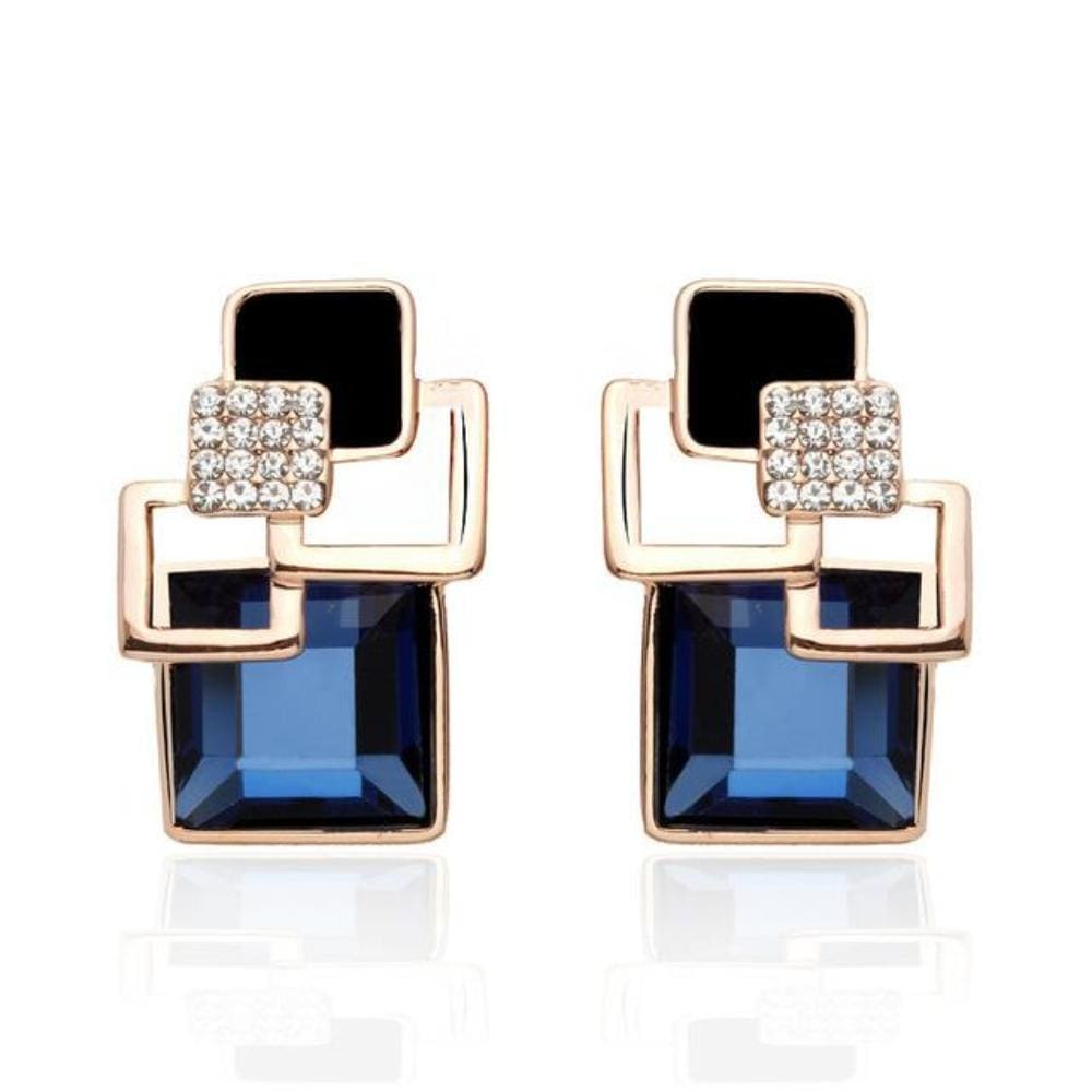 Kims Hot Fashion Vintage Long Square Shaped Crystal Earrings Geometric Style - E109 Blue - Earrings