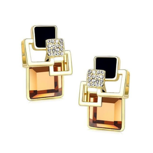 Kims Hot Fashion Vintage Long Square Shaped Crystal Earrings Geometric Style - E109 Champagne - Earrings