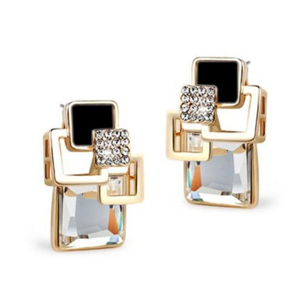 Kims Hot Fashion Vintage Long Square Shaped Crystal Earrings Geometric Style - E109 White - Earrings
