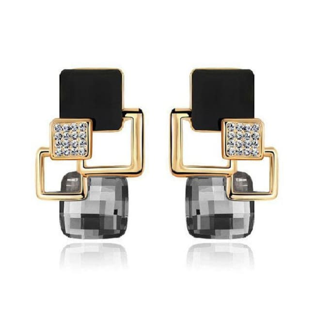 Kims Hot Fashion Vintage Long Square Shaped Crystal Earrings Geometric Style - E122 Black - Earrings