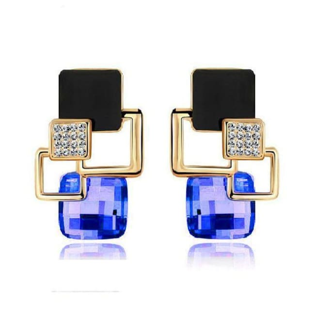 Kims Hot Fashion Vintage Long Square Shaped Crystal Earrings Geometric Style - E122 Blue - Earrings