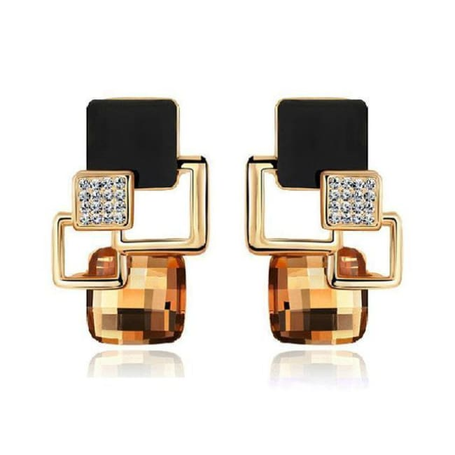 Kims Hot Fashion Vintage Long Square Shaped Crystal Earrings Geometric Style - E122 Champagne - Earrings