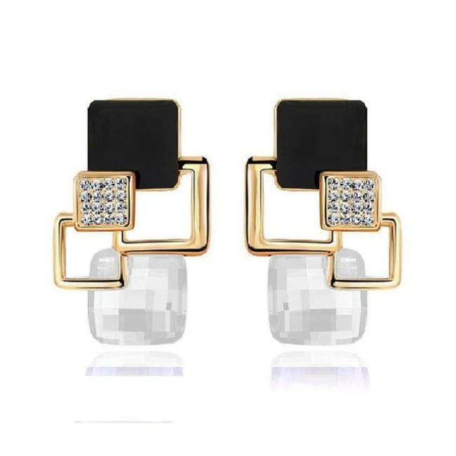Kims Hot Fashion Vintage Long Square Shaped Crystal Earrings Geometric Style - E122 White - Earrings