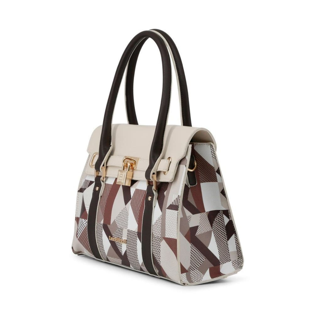 Laura Biagiotti Geometric Cream Handbag - Bags Handbags