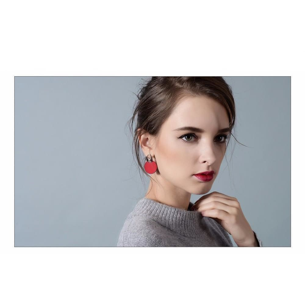 Lili Red Or Blue Long Round Dangle Earrings - Earrings