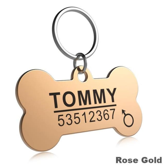 Little Chester Dog And Cat Engraved Id Tag - Bone Rosegold / L - Dog Collar