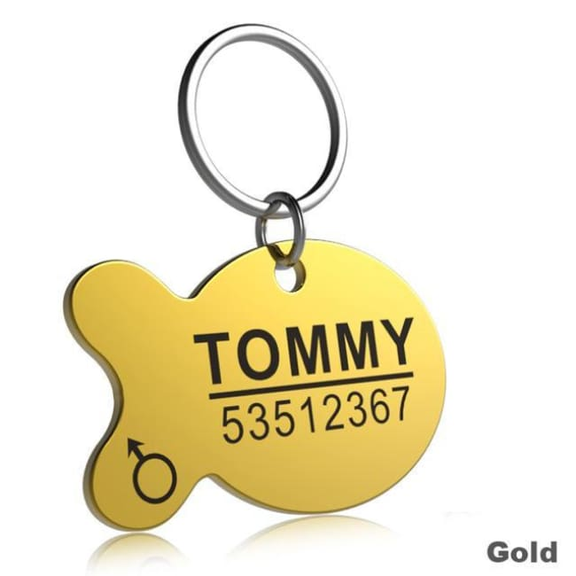 Little Chester Dog And Cat Engraved Id Tag - Fish Gold / L - Dog Collar