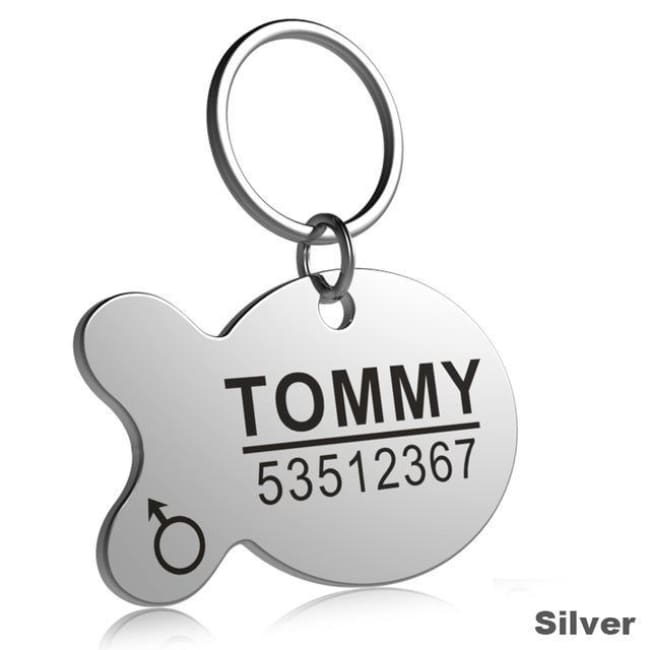 Little Chester Dog And Cat Engraved Id Tag - Fish Silver / L - Dog Collar
