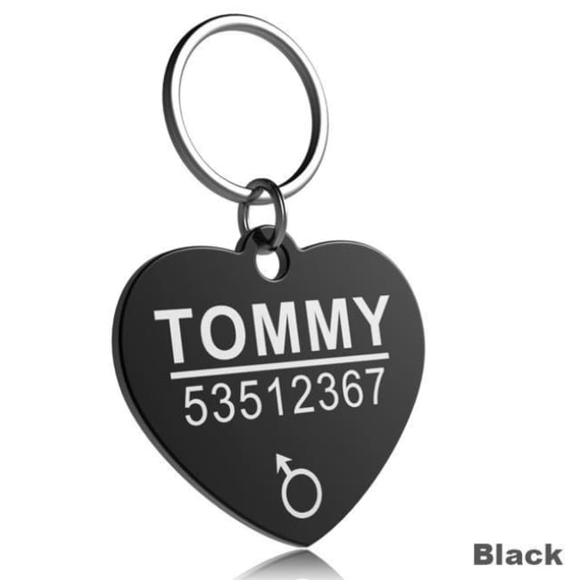 Little Chester Dog And Cat Engraved Id Tag - Heart Black / L - Dog Collar
