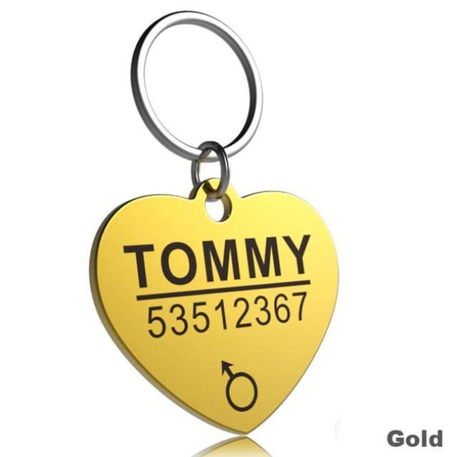 Little Chester Dog And Cat Engraved Id Tag - Heart Gold / L - Dog Collar