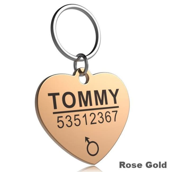 Little Chester Dog And Cat Engraved Id Tag - Heart Rosegold / L - Dog Collar
