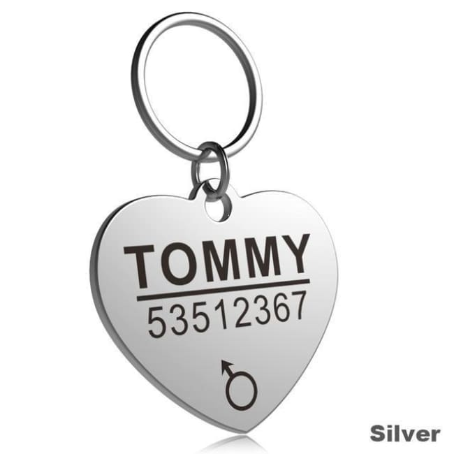 Little Chester Dog And Cat Engraved Id Tag - Heart Silver / L - Dog Collar