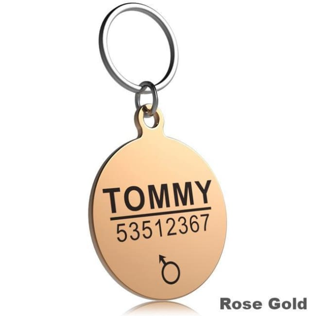 Little Chester Dog And Cat Engraved Id Tag - Round Rosegold / L - Dog Collar