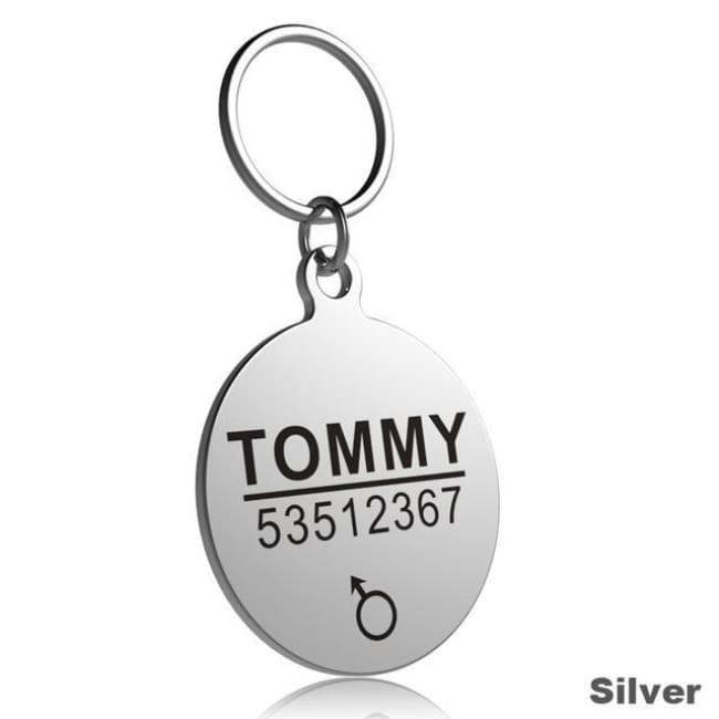 Little Chester Dog And Cat Engraved Id Tag - Round Silver / L - Dog Collar