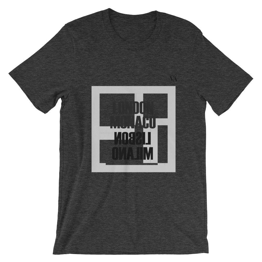 London Monaco Lisbon Milano Short-Sleeve Unisex T-Shirt - Dark Grey Heather / S - Tshirt