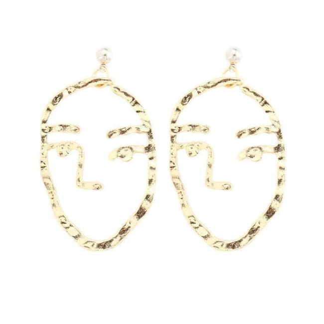 Minnis Face Statement Abstract Art Drop Earrings Gold Colour Dangle Earrings - Gold - Earrings