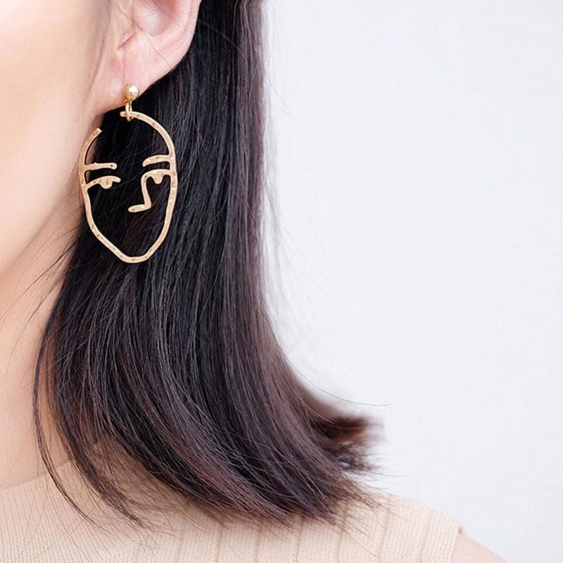 Minnis Face Statement Abstract Art Drop Earrings Gold Colour Dangle Earrings - Earrings