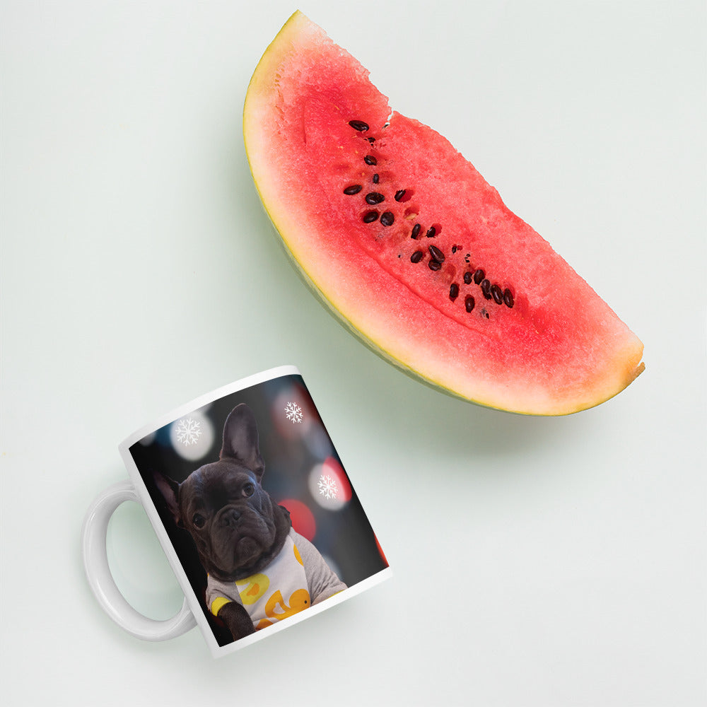 Personalised Pet Print Christmas Coffee Mug - Image Next to Watermelon