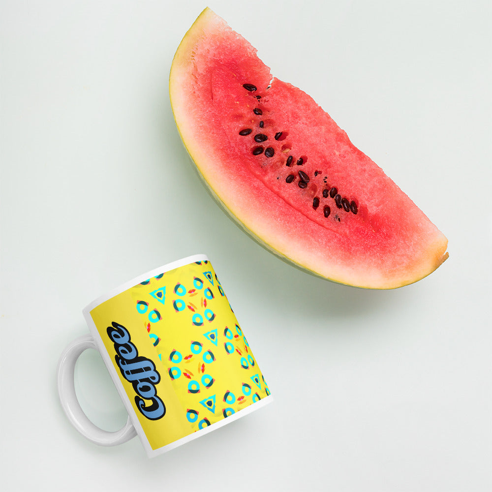 Frenchbulldog Coffee Mug - Background image next to Watermelon