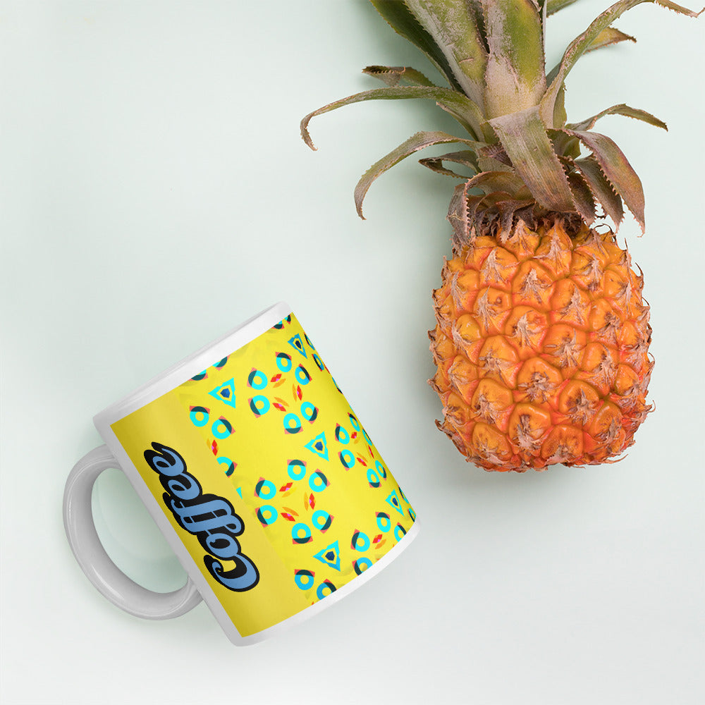 Frenchbulldog Coffee Mug - Background image next to Pineapple