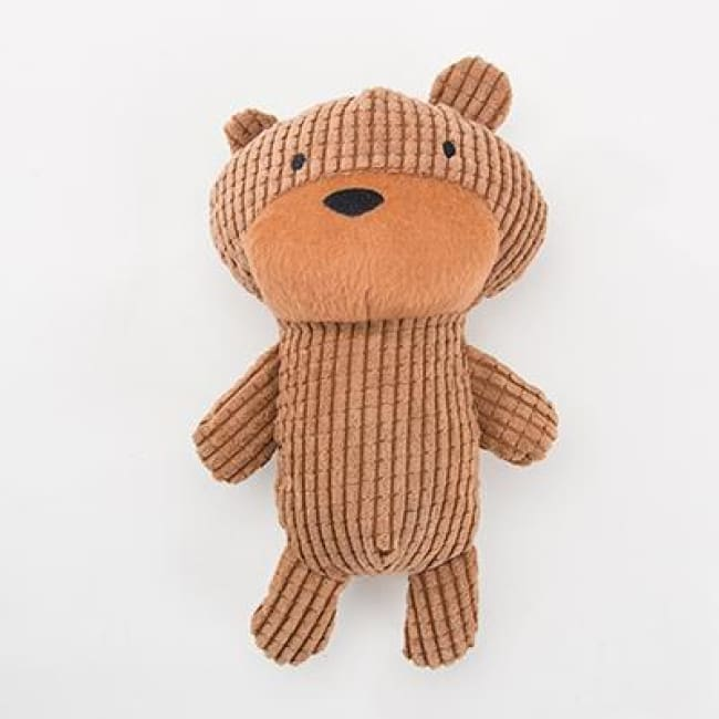 Mr Squeaky Teddy Plush Dog Toy - Brown / 25Cm Long - Dog Toys