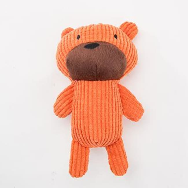 Mr Squeaky Teddy Plush Dog Toy - Orange / 25Cm Long - Dog Toys