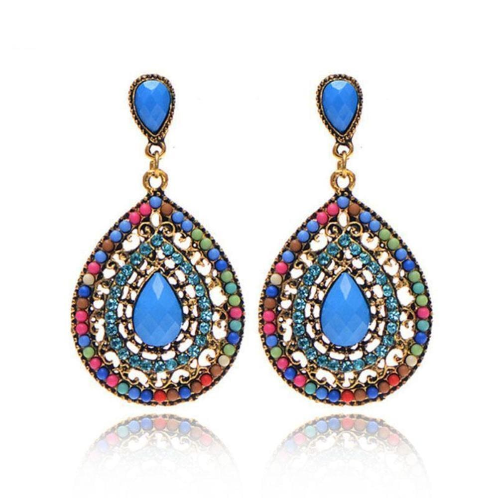 Palomas Bohemian Beads Heart Pendant Drop Earrings - Earrings
