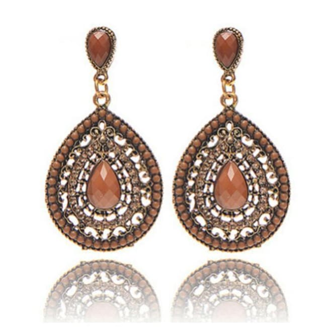 Palomas Bohemian Beads Heart Pendant Drop Earrings - Brown - Earrings