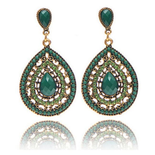 Palomas Bohemian Beads Heart Pendant Drop Earrings - Green - Earrings