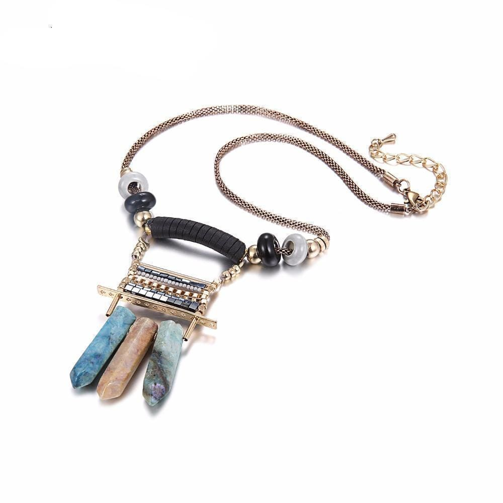 Palomas Bohemian Vintage Pendant Necklace With Stones - Necklace