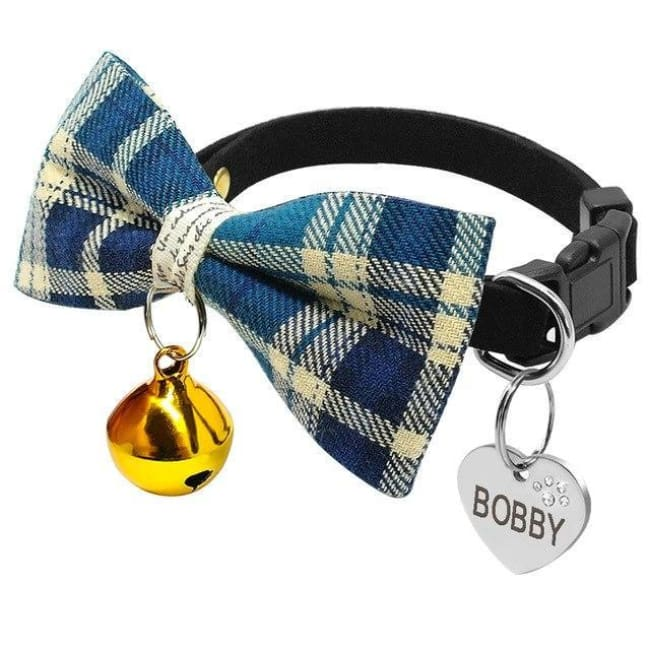Personalised Dog Bowtie Collars - Blue / S - Dog Collar