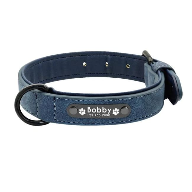 Personalized Custom Leather Dog Collar - Blue - Dog Collars, French bulldog leather collar